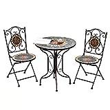 Patio Bistro de 3 Piezas/Plegable de jardín Mesa y sillas - plegamiento del Metal de Boho del Estilo de los Muebles al Aire Libre de la Vendimia Impermeable Muebles de Comedor WKY