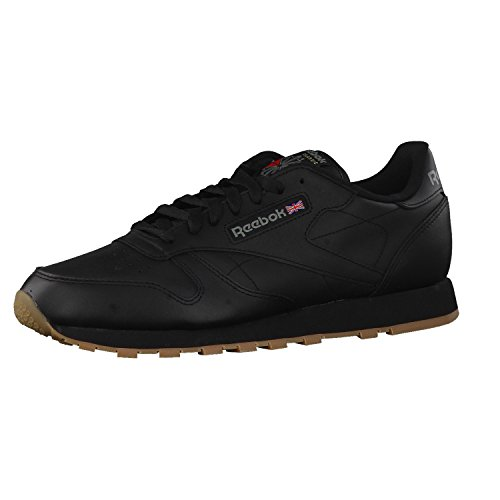 Reebok Herren Classic Leather Low-Top, Schwarz (Black/Gum), 42.5 EU