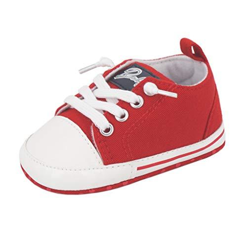 Zapatos para bebé Auxma La Zapatilla de Deporte Antideslizante del Zapato de Lona de la Zapatilla de Deporte para 3-6 6-12 12-18 M (3-6 M, Rojo)