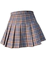 Hellery Kadınlar için mini plise etek yüksek bel patenci tenis eteği kız amigo kızlar okul üniforması parti, randevu, yıl dönümü için