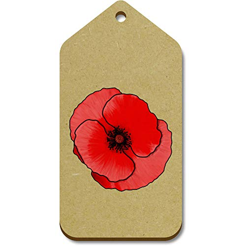 Azeeda 10 x Large 'Rememberance Poppy' Wooden Gift Tags (TG00091242)