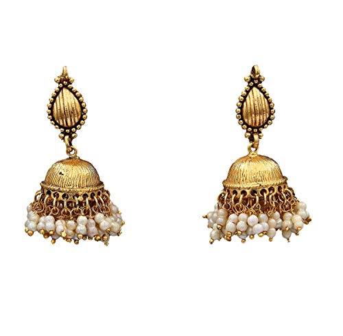 JewelryGift Astonish Stud Jhumki Earrings Gold Plated Pearl Stylish Handcrafted Fashion Jewellery for Girlfriend Wife MJ 26