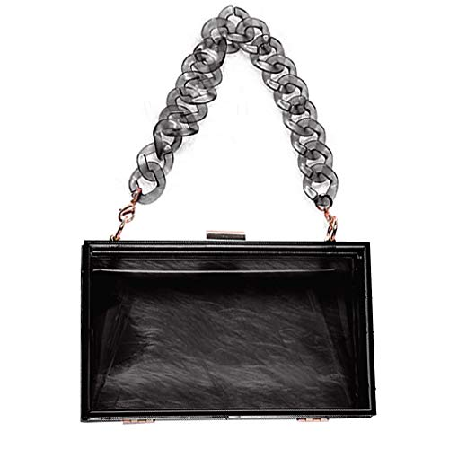 Chenso Bolso de mano para mujer, transparente acrílico, bolso de mano, monedero para conciertos, con correa corta extraíble de resina