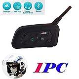 YUZEU 1200m V6 Intercom Moto Bluetooth,Kit Oreillette Bluetooth Casque Moto Interphone Main Libre avec Anti Bruit Communication Système Microphones,Connecter Jusqu'à 6 Riders pour Moto/Vélo(1 Pack)