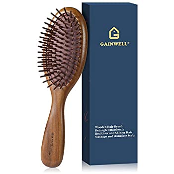 GAINWELL Wooden Hair Brush Soft Bristles with Massage Air Cushion for All-Type Hair