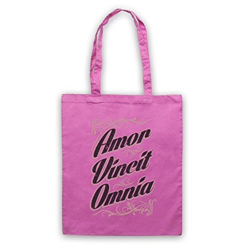 Amor Vincit Omnia Love Conquers all Tote, Pink, Taglia unica