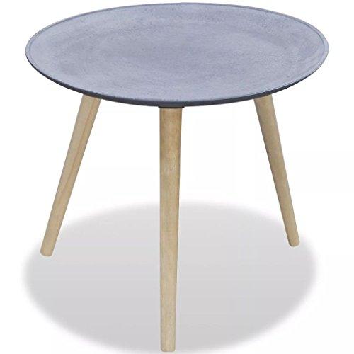 Bijzettafel, rond, 55 x 46,5 cm (diameter x H) grijs betonlook, ideaal voor het plaatsen van decoratieve objecten