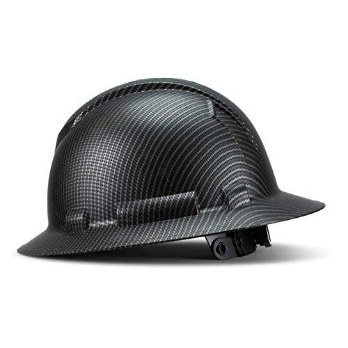 Full Brim Hard Hat Construction OSHA Hardhats, Men Women Safety Helmet, 6 Point, Custom Matte Carbon Fiber Design, By ACERPAL, Classic Dark Black