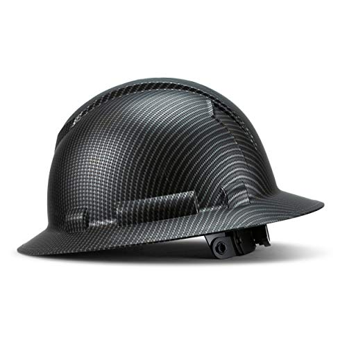 Full Brim Pyramex Hard Hat, Dark Black Carbon Fiber Design Safety Helmet 4pt, By...