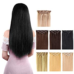 Clip in Hair Extensions Remy Human Hair – 4pieces Silkly Straight Huamn Hair Clip on Extensions for Women Beauty