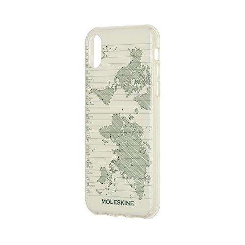 Moleskine - Étui Rigide Voyage pour iPhone X XS - Étui Rigide pour Smartphone - Avec Journal XS Volant pour les Notes - Thème Carte du Monde