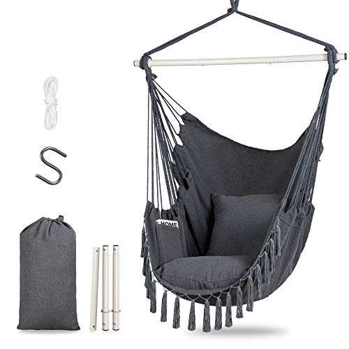 Hanging Macrame Chair,Swing Chair with Cushion,Extra Large Swing Macrame with Side Pocket,Metal Support Bar,Gray