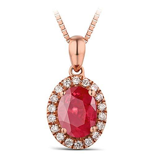 KnSam Collier Femme Fine Diamant Rubis Ovale 0.45ct, Or Rose 18 Carats Élégance Cadeau Noël