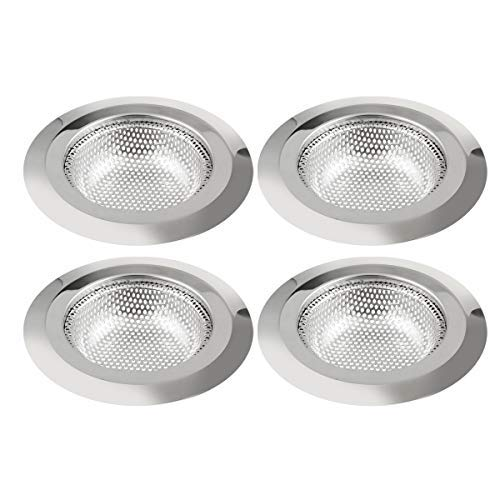 4 Pack Kitchen Sink Strainer, Large Wide Rim 4.5' Diameter, Stainless Steel Drain Cover, Anti Clogging Mesh Drain Strainer for Kitchen Sinks Drain, Perforated