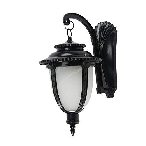 Lámpara pared industrial retro con acabado mate, color negro, 1 luz, montaje en pared, aplique pared para exteriores, lámpara exterior impermeable para porche delantero, linterna con lámpara pared D