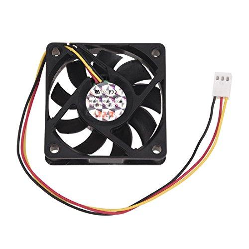 REFURBISHHOUSE Ventilador de refrigeracion 60x60mm DC 12V 0.2A Negro de Plastico Conector de 3 Clavijas para Ordenador PC