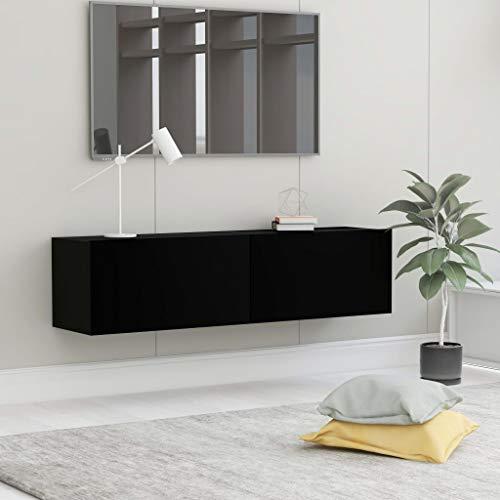 Gawany Mueble para TV con 2 Compartimentos Mesa Flotante para TV Mueble para TV de Pared Mesa de Salón Moderno de Aglomerado Negro 120x30x30 cm