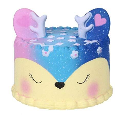 shentaotao 11cm Kawaii Einhorn-Kuchen-duft Squishy Charme Langsam Rising Simulation Kind-Spielzeug Für Key-Handy-anhänger Bügel (Galaxie Deer Kuchen)