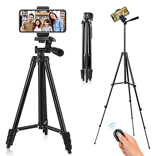 Phone Tripod, 51' Tripod For IPhone Cell Phone Tripod With Phone Holder And Remote Shutter, Compatible With IPhone/Android, Perfect For Selfies/Video Recording/Vlogging/Live Streaming