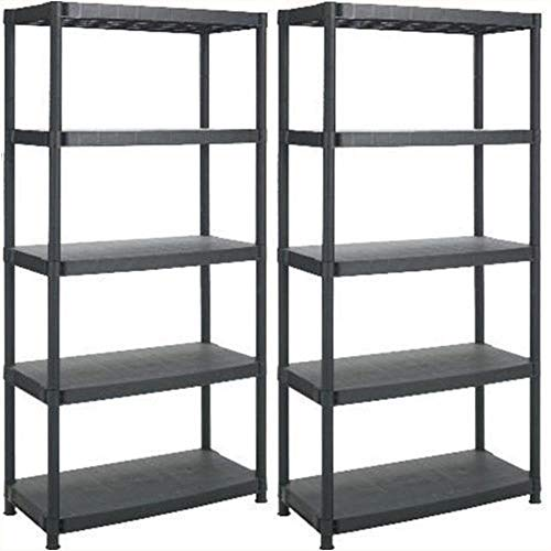 5 Tier Heavy Duty Plastic Racking Shelving Unit for Garage Shed Warehouse Storage [Pack of 4]