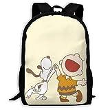 orangefruit Mochila Escolar, Mochila Informal Happy Snoopy Print Zipper School Bag Travel Daypack Mochila-H2