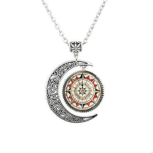 Collar con brújula de luna, brújula náutica de Windrose, regalo diario