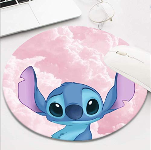 Gaming Mouse Pad Waterproof Mousepads for Laptop Desktop Computer,Size 8 INCH - Lilo Stitch Pink Cloud