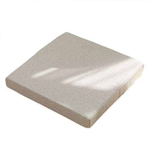 QSCV Square Cotton Linen Chair Cushions,Thicken Tatami Floor Pillow Cushion,Not-Slip Dinning Chair Pad Sofa Seat Cushion-Grey 45455cm