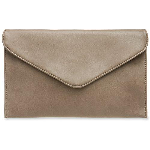 CASPAR TA310 Damen Envelope Clutch, Farbe:taupe