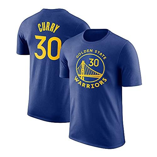 YZQ Camiseta para Hombres, Golden State Warriors # 30 Stephen Curry NBA Basketball Jersey Casual Chaleco Transpirable Camiseta De Manga Corta Top,Azul,XXL(180~190CM)