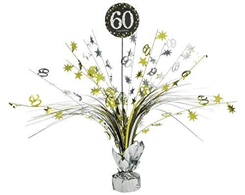 amscan 110296 Tischdekoration 60 Sparkling Celebration, Silber & Gold