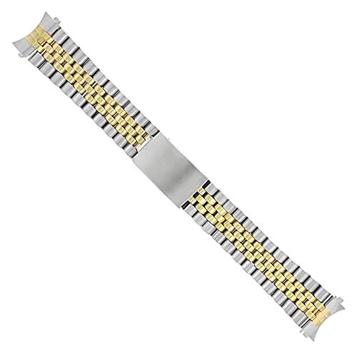 XINGFUQY Pulsera de la Banda de reemplazo de 19mm Jubilee Reloj Compatible con Seiko Tudor Gold/SS Dos Tono (Band Color : Gold, Band Width : 19mm)