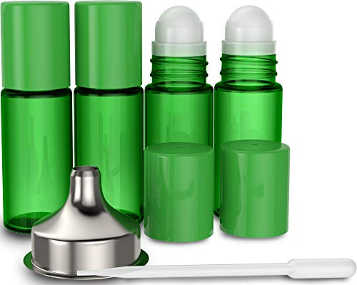 4 Pack Essential Oil Roller Bottles [Plastic Roller Ball] FREE Plastic Pippette and Funnel - Refillable Glass Color Roll On for Fragrance Essential Oil - 30ml 1 oz (GREEN)