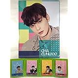Cha Eun Woo チャ・ウヌ - ASTRO アストロ グッズ / A4 クリアファイル + 4つ折り メモパッド (4連 メモ帳) セット - A4 Size Clear File Folder + Quarto Memo Pad (Mini Book Style) [TradePlace K-POP 韓国製]
