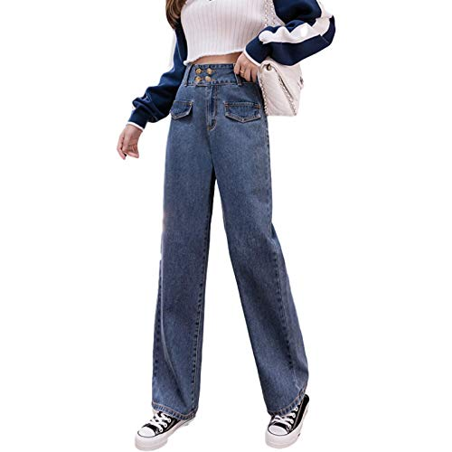 Pantalones Vaqueros de Pierna Ancha con múltiples Botones y Cintura Alta para Mujer, Ropa de Calle a la Moda, Pantalones de Mezclilla Sueltos Lavados de Talla Grande con Personalidad L