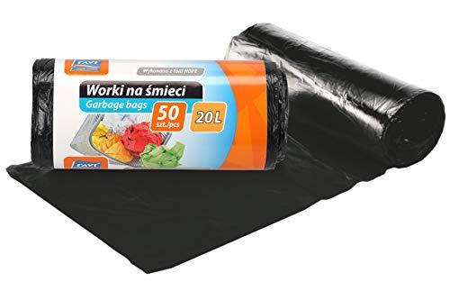 RAVI Müllbeutel, 20L, 50 Stück, Schwerlast Beutel, reißfeste Abfallsäcke, Säcke aus resistenter HDPE-Folie, Müllsäcke für Küche, Garage, Abfallbeutel aus wasserresistenter Folie, schwarz
