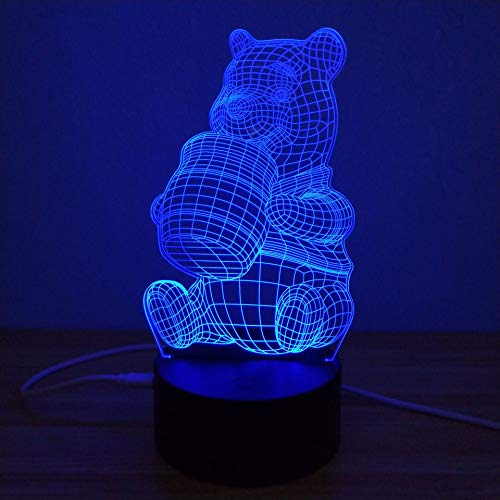 Lampe De Nuit,Winnie L'Ourson Coloré 3D Au Chevet Du Sommeil Enduit Acrylique Led Night Light Touch Commutateurs En Trois Dimensions Nightlight Mood Lamp