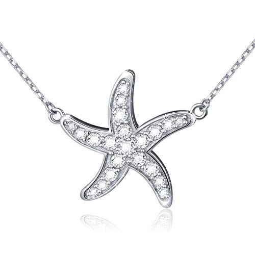Ladytree S925 Sterling Silver Sea Stars Animal Pendant Starfish Necklace 18+2'