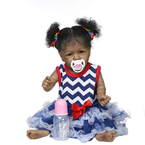 Zero Pam Reborn Doll Girl African American Babies Lifelike Doll 22 inch Black Reborn Baby Doll Full Body Silicone Realistic Doll for Kids 6 Ages