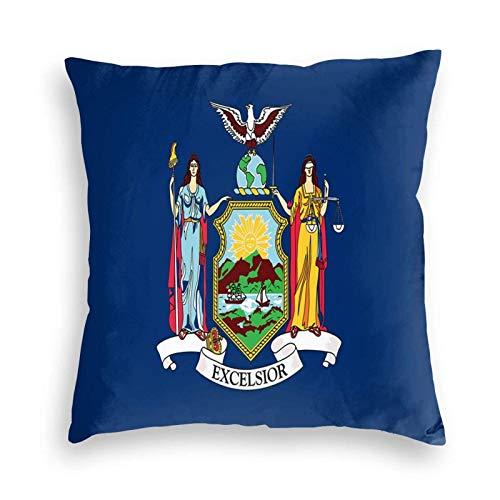 U/k Funda de cojín decorativa con la bandera del estado de Nueva York para sofá, coche, cama, 22 x 22 pulgadas