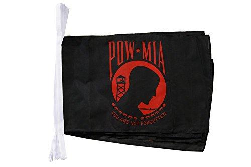 Digni Grande Guirlande 12 Drapeaux USA Etats-Unis Pow Mia/Noir, Rouge - 30 x 45 cm / 8,9 m Sticker Gratuit