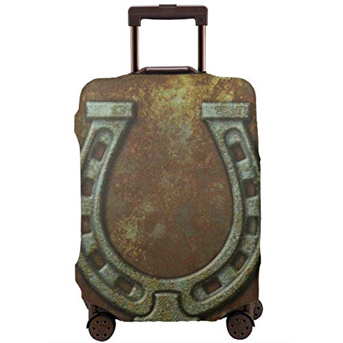 Travel Suitcase Protector Antique Rusty Horseshoe Vintage Rustic Luggage Cover Protective Travel Trunk Case Elastic Suitcase Protector Fits 18-21 Inch Luggage