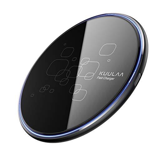 15W Caricatore Wireless,Caricabatterie Wireless Ricarica Rapida Caricabatterie a Induzione per iPhone 11 X Xs Xr 8 Series, Samsung, Galaxy S10 /S9 /S9 + /S8(No AC Adapter) - Nero
