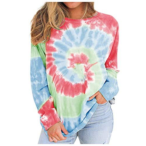 Yowablo Sweatshirt Damen Tie Dye Pullover Oberteile Casual Lose Farbblock Pullover Sweatshirt Frauen Tie-Dye O-Ausschnitt Farbverlauf Kontrastfarbe Langarm Top (S,2rot)