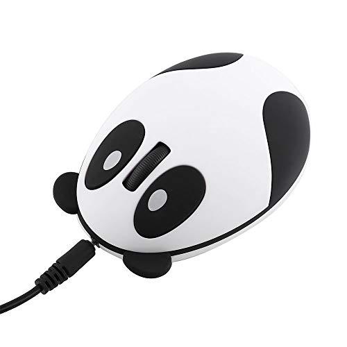 Demeras Ratón de Ordenador Panda de 2,4 GHz Ratón de Ordenador Panda sin Sonido óptico inalámbrico para Win/Mac/Linux/Andriod/iOS Adecuado para niñas, niños, Estudiantes