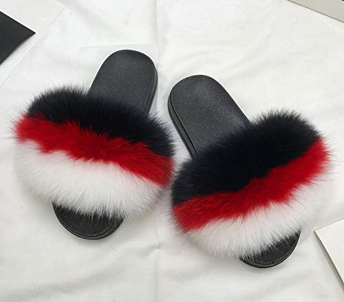 N/A Zapatillas para Ella, Zapatillas de Lana de Moda de Acción de Gracias, Señoras con Zapatos de Lana, Negro Rojo Blanco_40-41