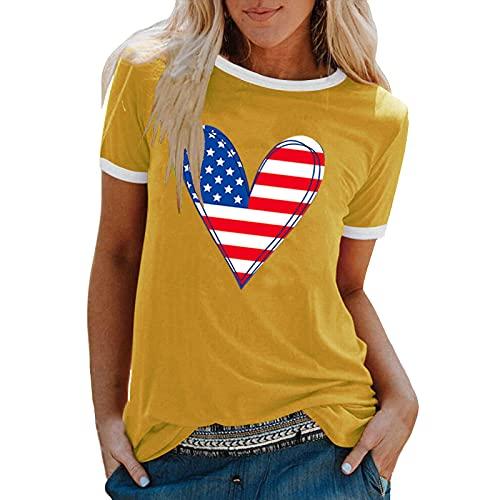 AMhomely Camisas y blusas para mujer, moda amor, informal, cuello redondo, manga corta, blusa para oficina, tamaño Reino Unido, envío 7 días