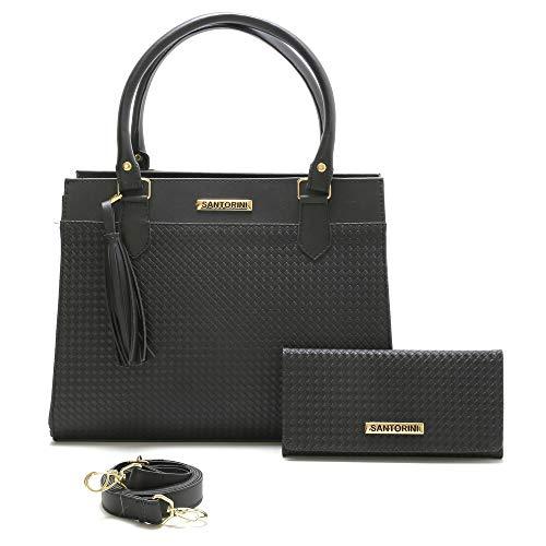 Bolsa Feminina Grande Mais Carteira com alça transversal Santorini Handbag (Preta)