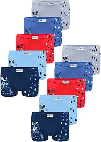 LOREZA ® 10 Pack Jungen Boxershorts aus Baumwolle Unterhosen (116-122 (6-7Jahre), Modell 3)