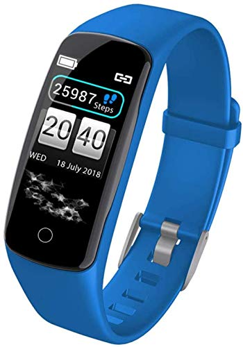 JSL Pulsera inteligente con monitor de actividad física, pantalla a color, larga en espera, impermeable, Bluetooth, podómetro